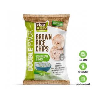 Chips din orez brun integral cu smântână și ceapă