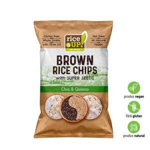 Chips expandat de orez brun integral, semințe de chia, quinoa