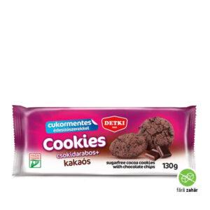 Biscuiți cu cacao cu fulgi de ciocolată și îndulcitori, fără adaos de zahăr