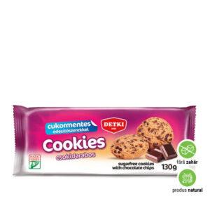 Biscuiți cu fulgi de ciocolată și îndulcitori, fără adaos de zahăr
