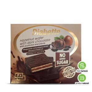 Napolitane cu cremă de alune învelite în ciocolată amăruie, fără zahăr adăugat, cu îndulcitori